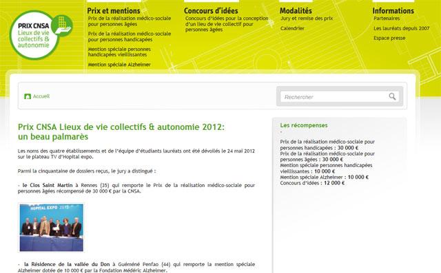Guide des maisons de retraite avec Capgeris, portail d'information pour les  personnes agées : Le prix CNSA Lieux de vie collectifs & autonomie 2012 récompense six lauréats.