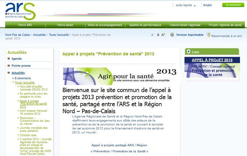 Procédure d'appels à projets 2013 en Nord - Pas de Calais