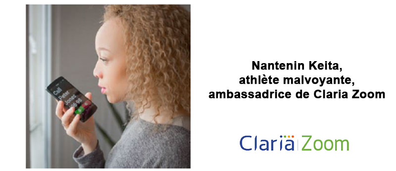 Nantenin Keita, athlète malvoyante ambassadrice de Claria Zoom