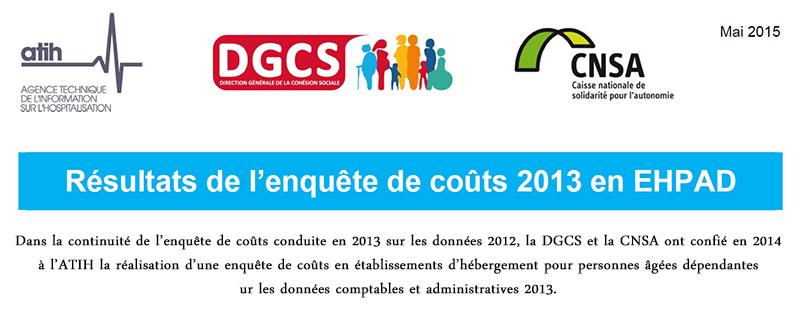 Principaux résultats de l'enquête des coûts 2013 en EHPAD