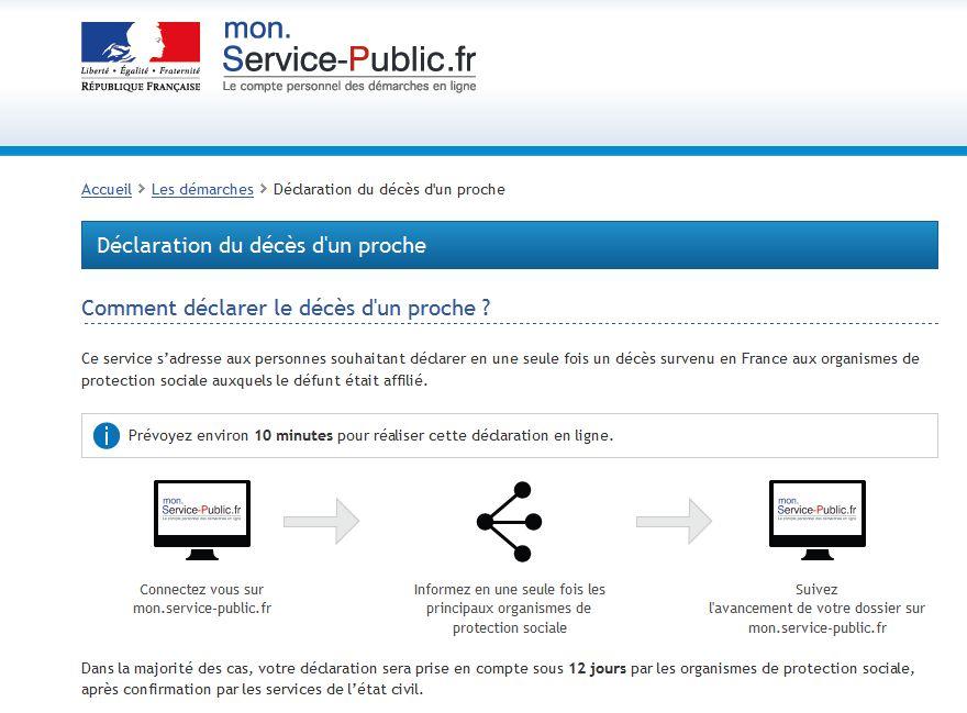 La télé-déclaration d'un décès sur le site mon.service-public.fr