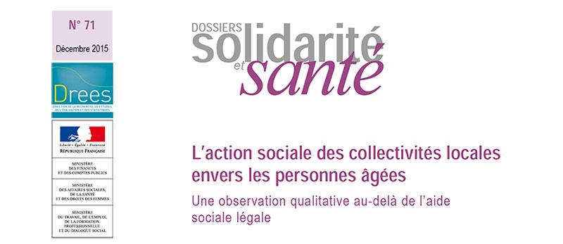 Parution Drees : L'action sociale des collectivités locales envers les personnes âgées.