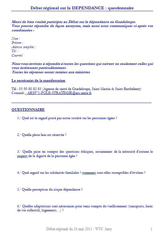 Le débat régional sur la Dépendance en Guadeloupe
