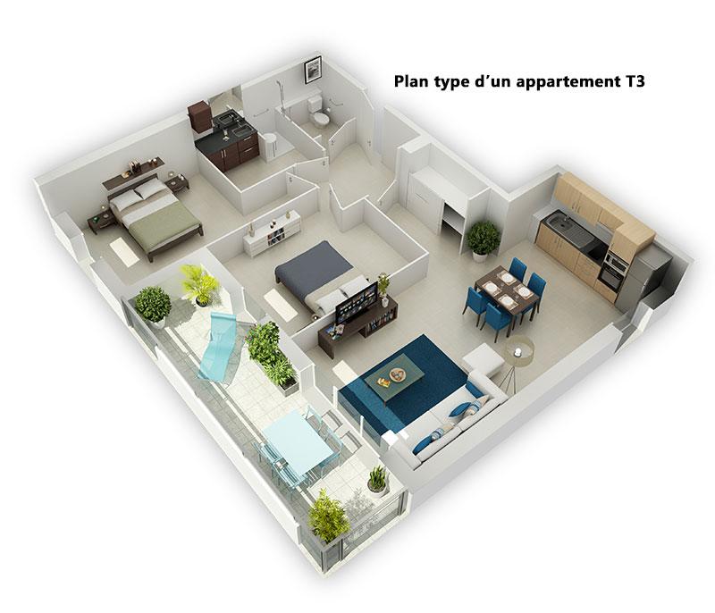n mes investir dans un t3 au sein d 39 une r sidence. Black Bedroom Furniture Sets. Home Design Ideas