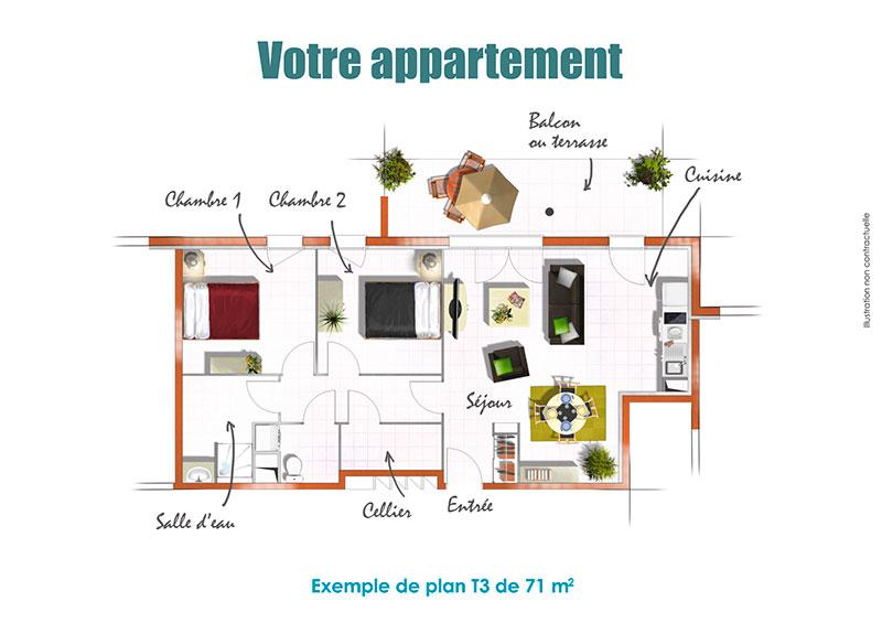 investir dans un t3 pringy au sein d 39 une r sidence services seniors. Black Bedroom Furniture Sets. Home Design Ideas