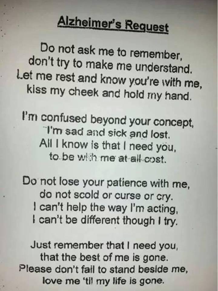 Un Poème Si Beau Et Si Profond Sur Alzheimer